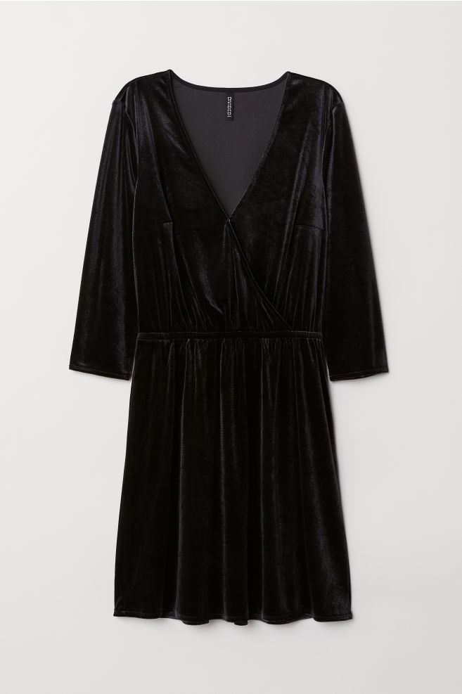 b60975ab3602d Velvet Wrap Dress - Black - | H&M ...