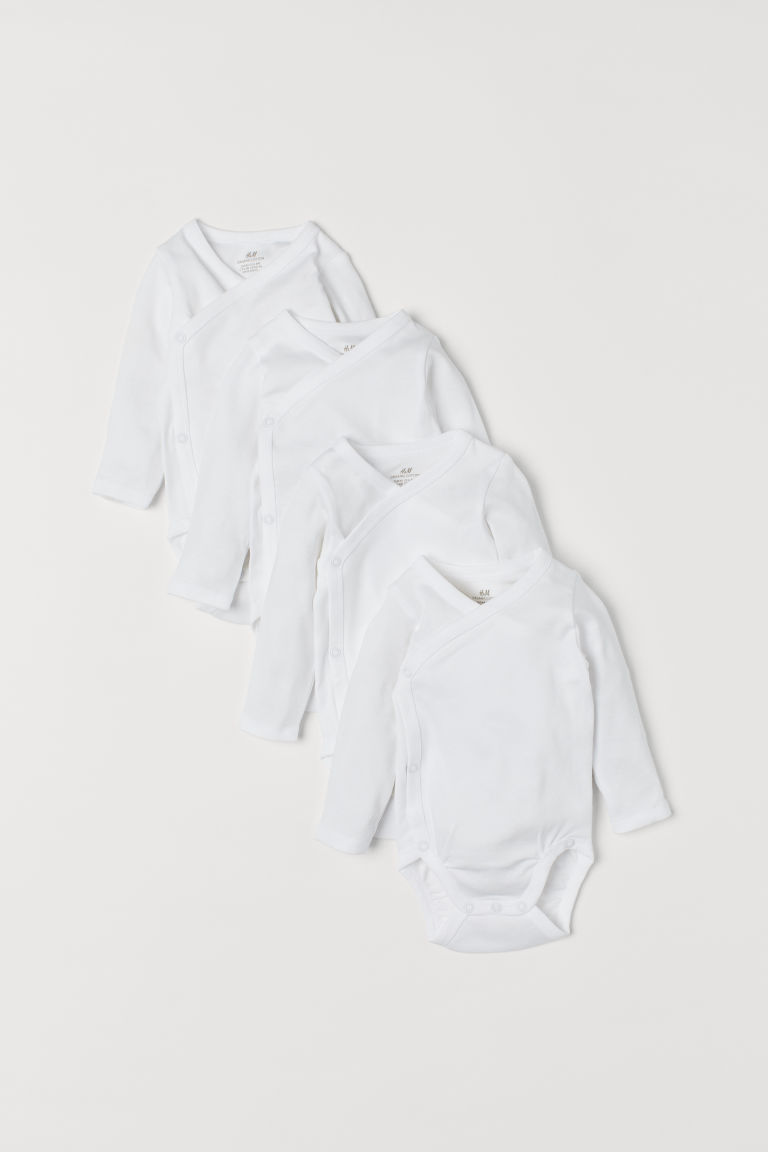 4-pack wrapover bodysuits - White - Kids | H&M