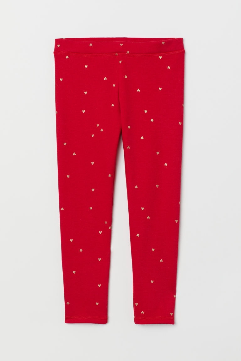 Patterned leggings - Red/Hearts - Kids | H&M CN