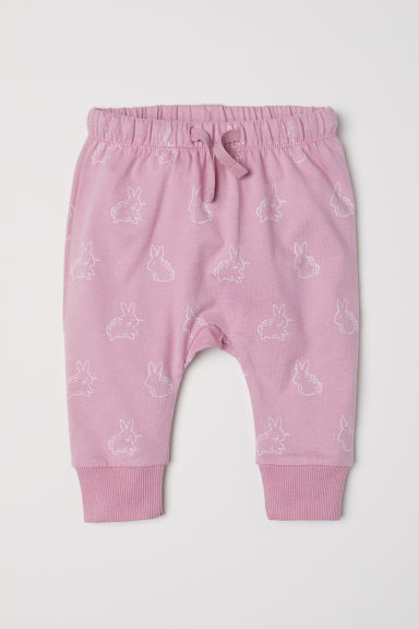 Jersey trousers - Pink/Rabbits - Kids | H&M