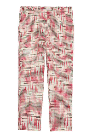 Jacquard-weave trousers - White/Red -  | H&M