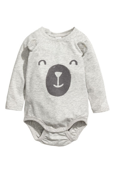 Printed bodysuit - Light grey/Bear -  | H&M CN