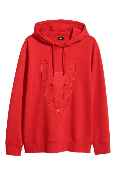 Hooded top with embroidery - Red - Men | H&M