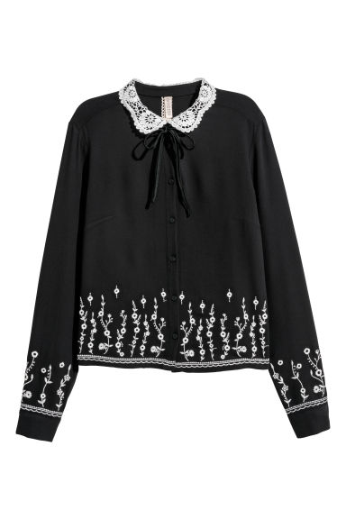Blouse with a lace collar - Black -  | H&M