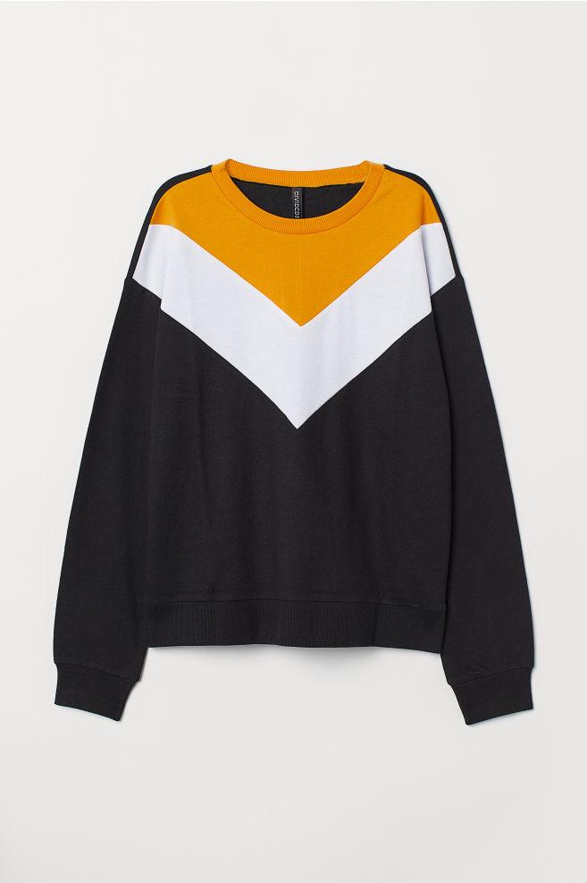 Sweatshirt Mustard Yellowcolor Block Hm Us