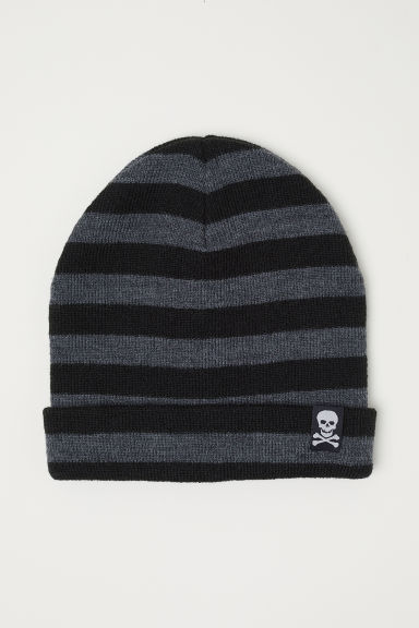 Knitted hat - Dark grey/Striped - Kids | H&M CN