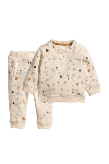 Sweatshirt and trousers - Light beige/Patterned - Kids | H&M CN