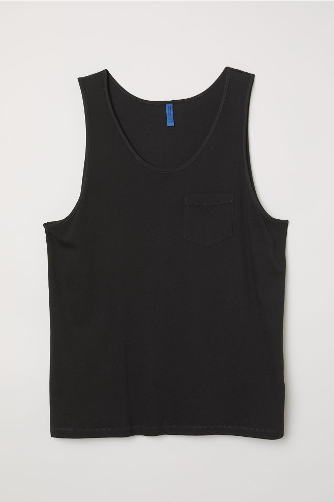 cd1c8e5848eaf9 Tank Top with Chest Pocket - Black - Men