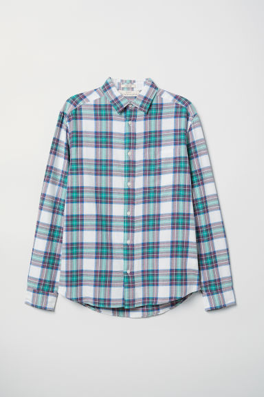 Cotton shirt Regular Fit - White/Checked - Men | H&M