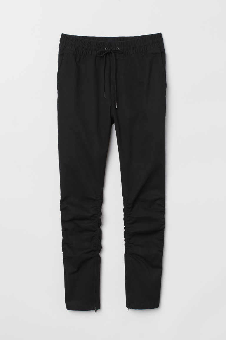 Cotton twill joggers - Black - Men | H&M CN
