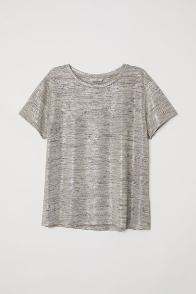 Glossy jersey top - Metallic - Ladies | H&M