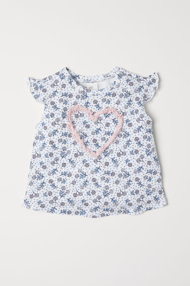 Short-sleeved jersey top - White/Blue floral -  | H&M CN