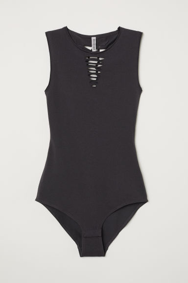 Body in jersey con tagli - Grigio scuro - DONNA | H&M IT