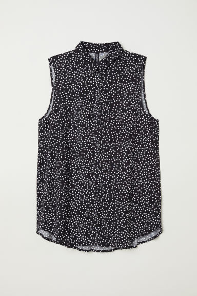 Sleeveless viscose blouse - Black/Spotted -  | H&M CN
