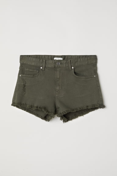 Denim shorts - Dark khaki green - Ladies | H&M CN