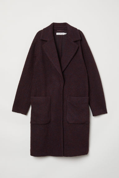 Knitted wool-blend coat - Burgundy - Ladies | H&M CN