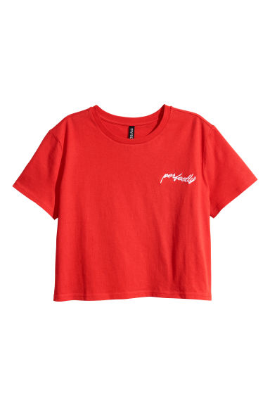 Cropped T-shirt - Bright red - Ladies | H&M
