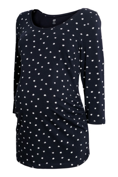 MAMA Jersey top - Dark blue/Patterned -  | H&M
