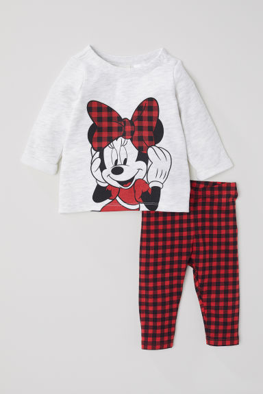 Top and leggings - Light grey marl/Minnie Mouse - Kids | H&M CN