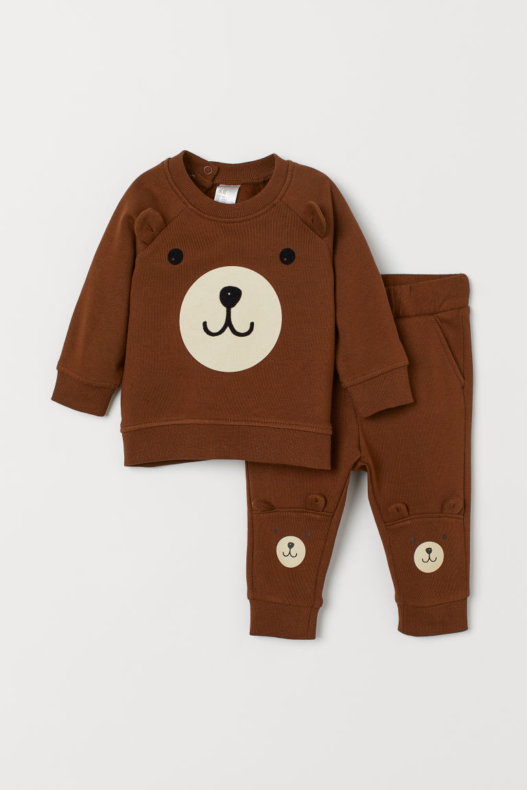 Sweatshirt and trousers - Brown/Bear -  | H&M