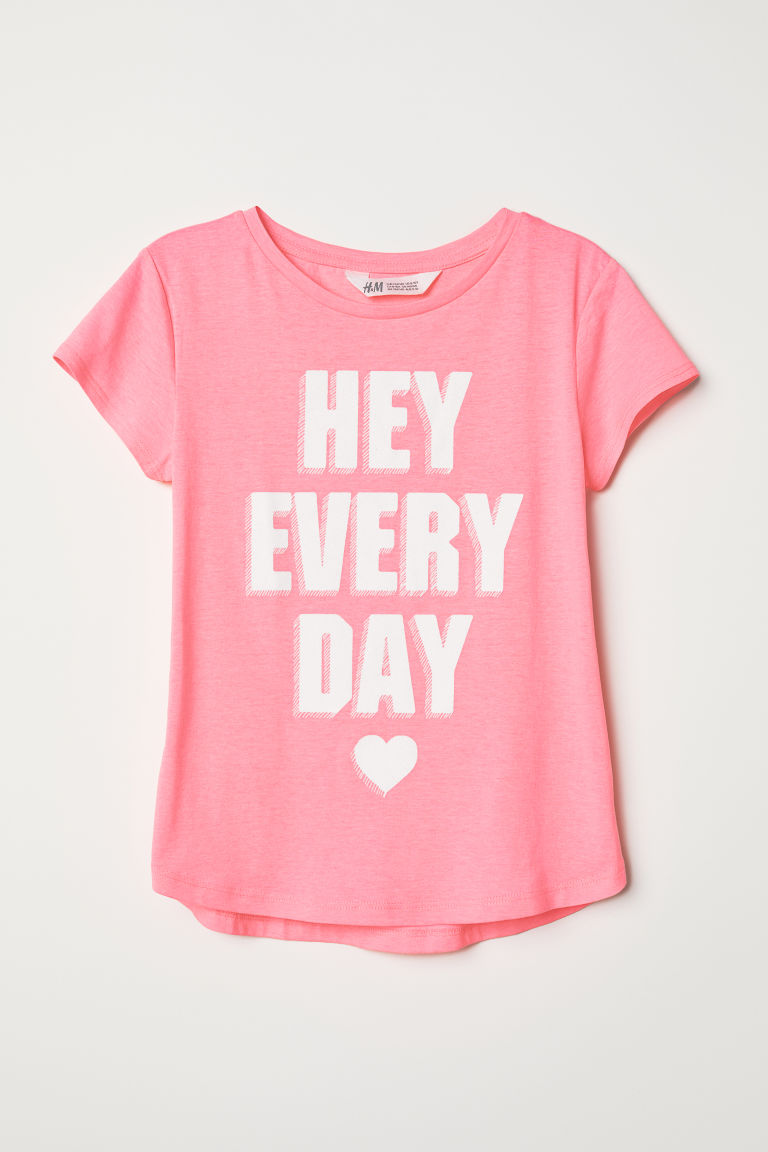Printed T-shirt - Pink/Hey Everyday - Kids | H&M CN