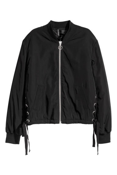Bomber jacket with lacing - Black - Ladies | H&M