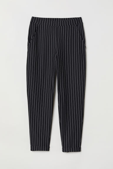 Ankle-length pull-on trousers - Black/Striped -  | H&M GB