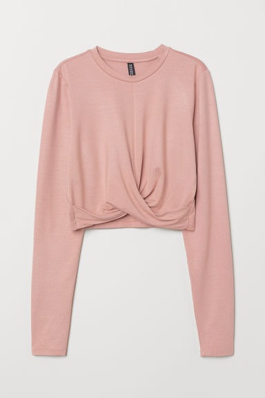 Short knot-detail jersey top - Powder pink -  | H&M CN