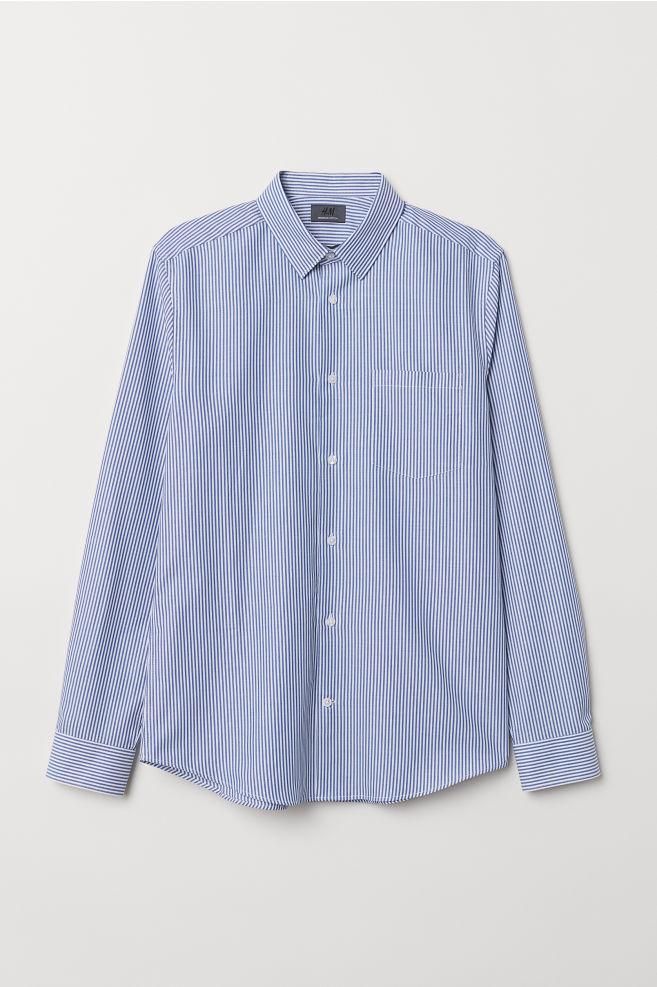 16592460e7 Slim Fit Cotton Shirt - Light blue/white striped - Men | H&M ...