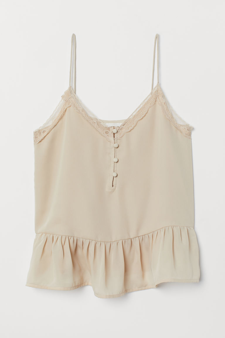 V-neck strappy top - Light beige - Ladies | H&M IE