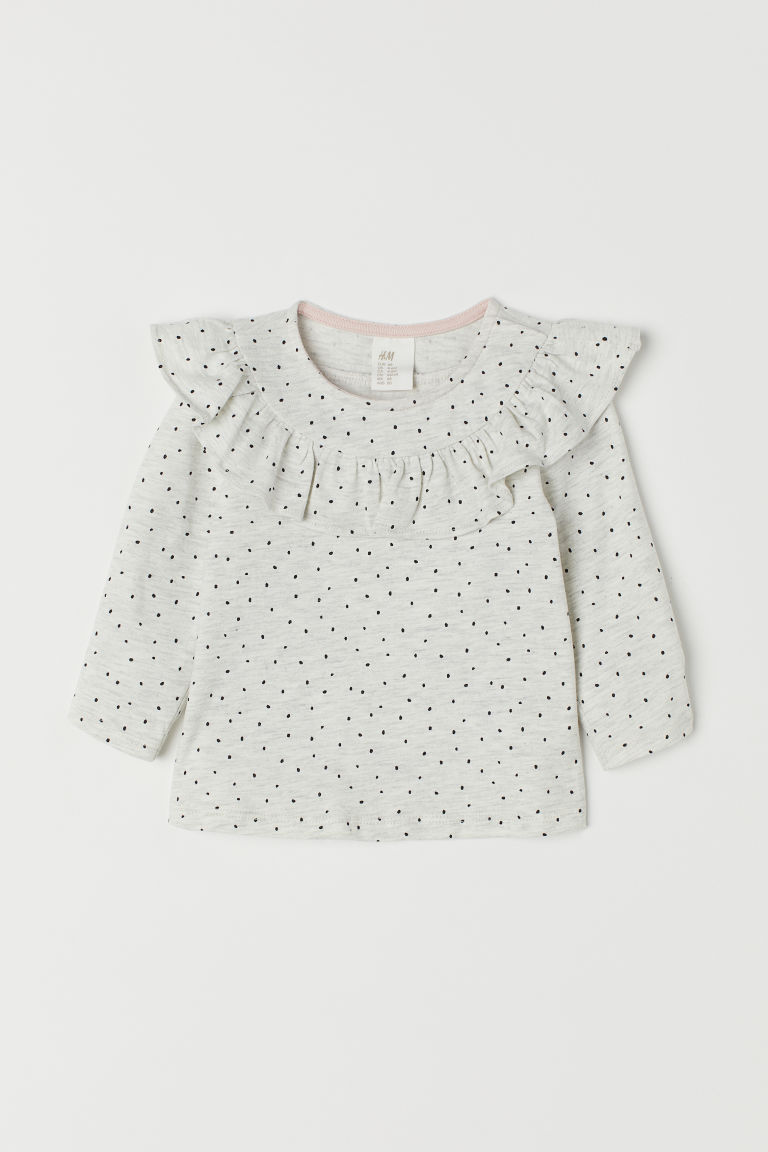 Long-sleeved jersey top - Light grey marl/Spotted - Kids | H&M CN