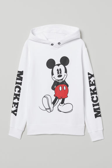 Printed hooded top - White/Mickey Mouse - Kids | H&M