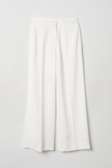Lyocell-blend trousers - White - Ladies | H&M CN