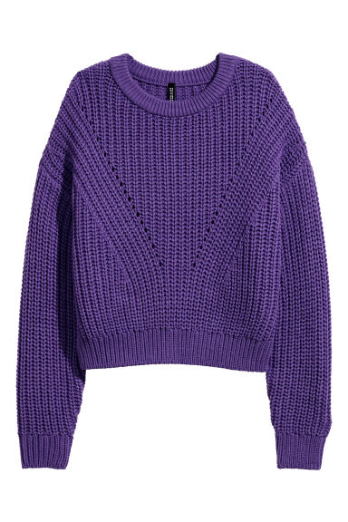 Ribbed jumper - Purple -  | H&M