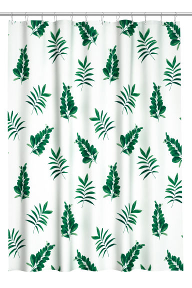 Patterned shower curtain - White/Leaves - Home All | H&M CN