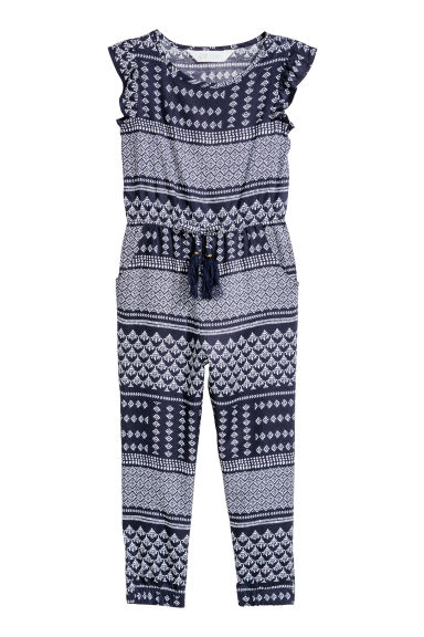 Patterned jumpsuit - Dark blue/Patterned - Kids | H&M