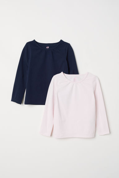 2-pack long-sleeved tops - Light pink/Dark blue - Kids | H&M CN