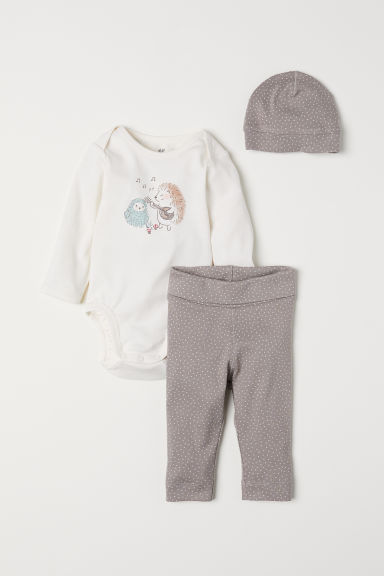 3-piece jersey set - Natural white/Hedgehog - Kids | H&M