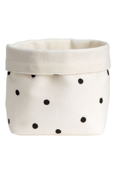 Small canvas storage basket - Natural white/Spotted - Home All | H&M GB