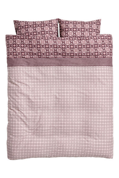 Patterned duvet cover set - Pink/Burgundy -  | H&M GB