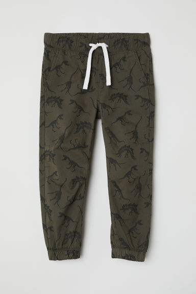 Cotton pull-on trousers - Dark khaki green/Patterned - Kids | H&M CN