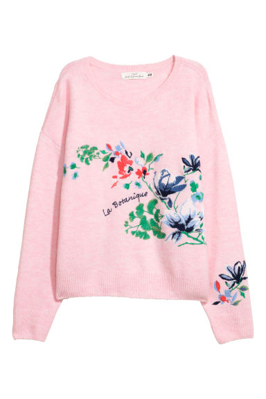 Knitted jumper with embroidery - Light pink/Flowers -  | H&M