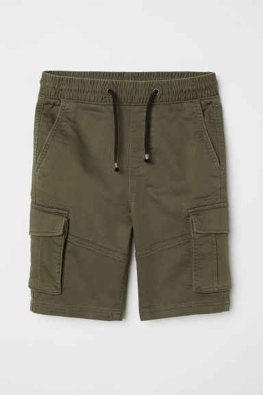 Cotton shorts with pockets - Dark khaki green - Kids | H&M