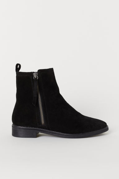 Warm-lined suede boots - Black - Ladies | H&M