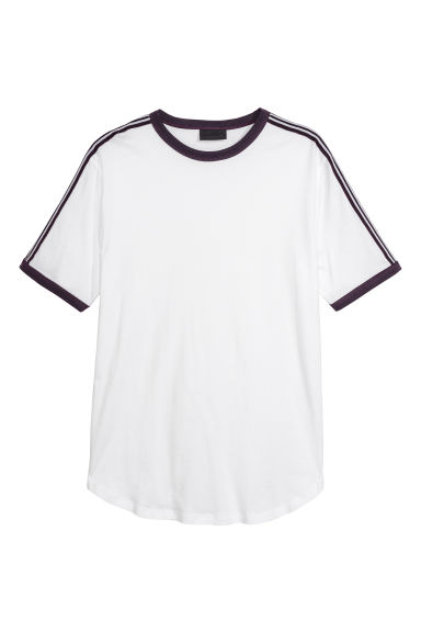 T-shirt with side stripes - White -  | H&M