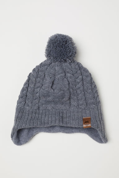 Fleece-lined hat with earflaps - Grey/Cable-knit -  | H&M CN