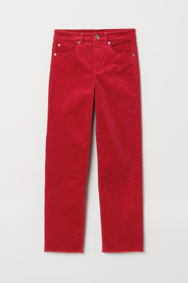 Ankle-length Corduroy Pants - Red -  | H&M US