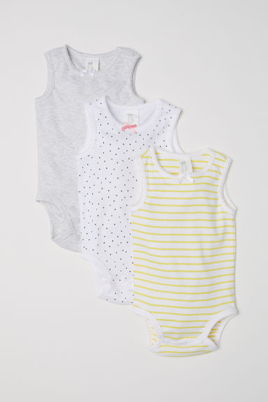 Set van 3 mouwloze body's - Wit/stippen -  | H&M BE