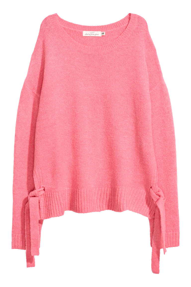 Knitted jumper with ties - Pink - Ladies | H&M