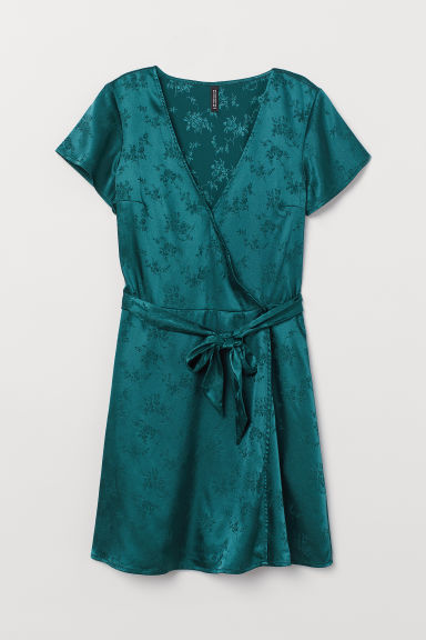 V-neck dress - Dark green -  | H&M CN